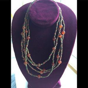 Carnelian Agate & Unakite Beaded Art Necklace
